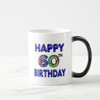 Happy 60th Birthday Mug in Balloon Font