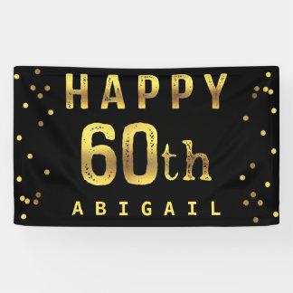 Happy 60th Faux Gold Foil Confetti Black Banner