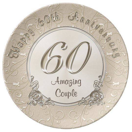 Happy 60th Wedding Anniversary Gifts CUSTOMIZABLE Porcelain Plate