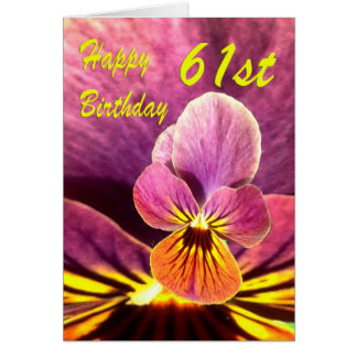 Happy 61st Birthday Flower Pansy Card