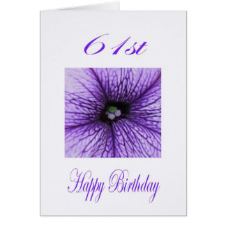 Happy 61st Birthday purple Blossom Card