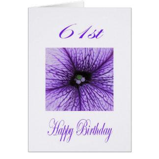 Happy 61st Birthday purple Blossom Greeting Card