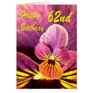 Happy 62nd Birthday Flower Pansy Card