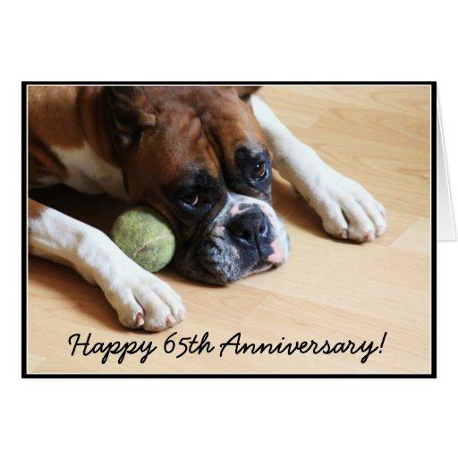 Happy 65th Anniversary boxer dog greeting card