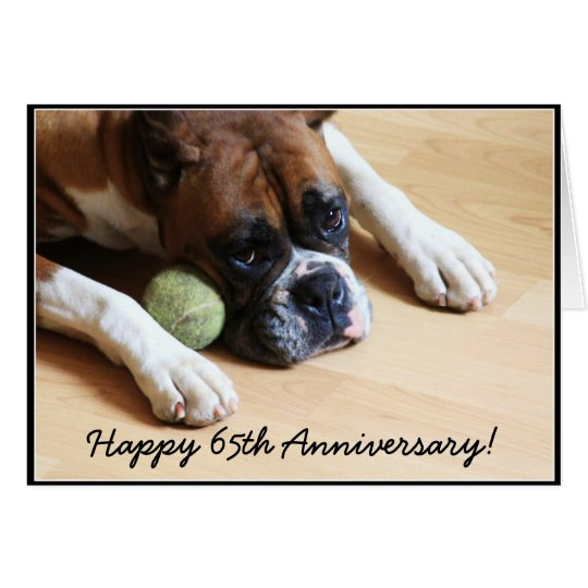 Happy 65th Anniversary boxer dog greeting card