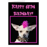 Happy 65th Birthday Chihuahua Punk greeting card