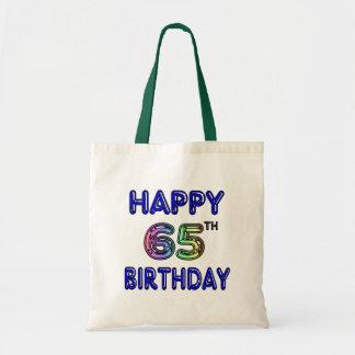 Happy 65th Birthday in Balloon Font Canvas Bag