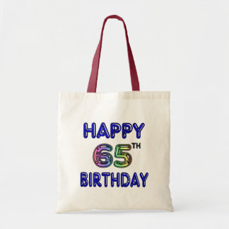 Happy 65th Birthday in Balloon Font Budget Tote Bag