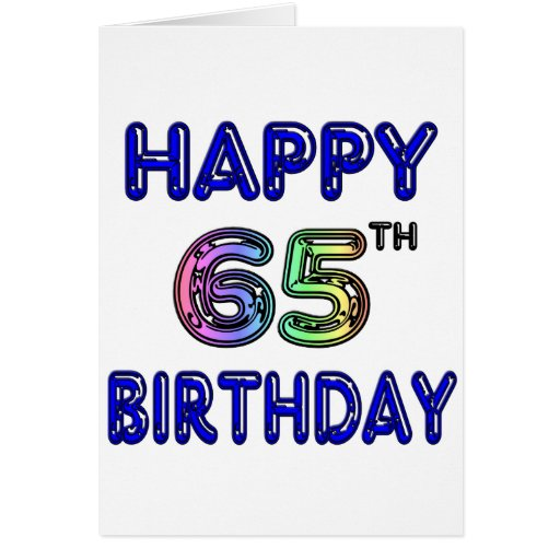 Happy 65th Birthday in Balloon Font Greeting Cards
