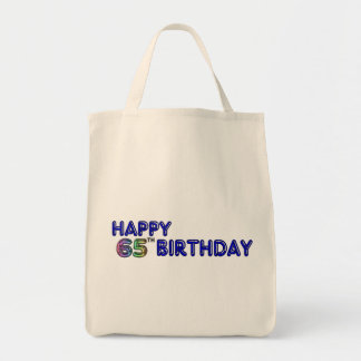 Happy 65th Birthday in Balloon Font Grocery Tote Bag
