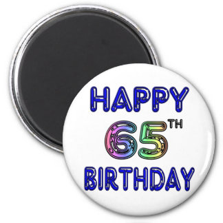 Happy 65th Birthday in Balloon Font 6 Cm Round Magnet
