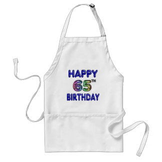 Happy 65th Birthday in Balloon Font Standard Apron