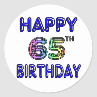 Happy 65th Birthday in Balloon Font Round Stickers