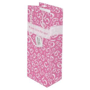 Happy 65th Birthday Number Pattern Pink and White Wine Gift Bag