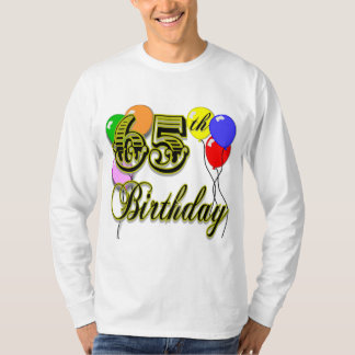 Happy 65th Birthday T-Shirt with Balloons