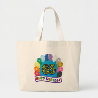 Happy 65th Birthday with Balloons Jumbo Tote Bag