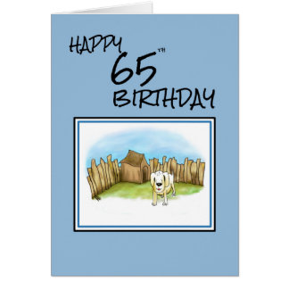 Happy 65th Birthday with cartoon dog in garden and Card