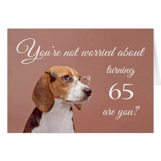 Happy 65th birthday, worried beagle card