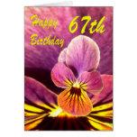 Happy 67th Birthday Flower Pansy Greeting Card
