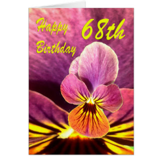 Happy 68th Birthday Flower Pansy Greeting Card