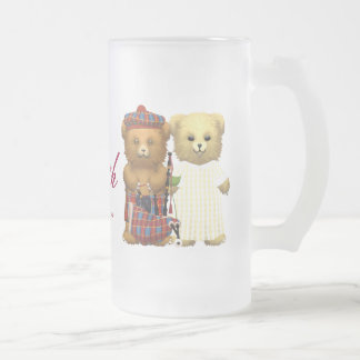 Happy 69th Anniversary Teddy Bears Glass Frosted Glass Beer Mug