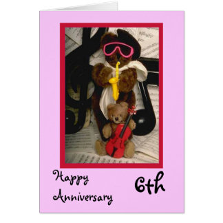 Happy 6th Anniversary, Customizable Greeting Card