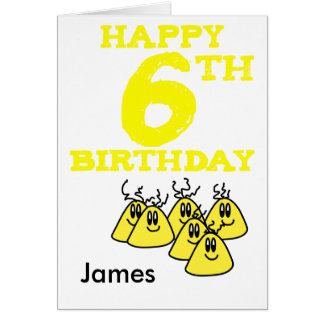 Happy 6th Birthday cartoon aliens name Card