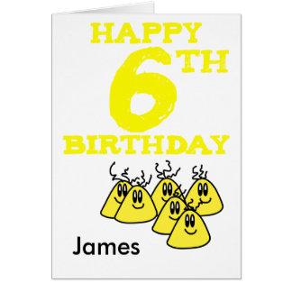 Happy 6th Birthday cartoon aliens name Greeting Card