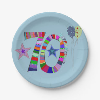 Happy 70th Birthday Colourful Balloons 7 Inch Paper Plate