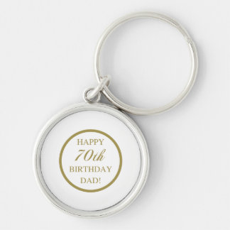 Happy 70th Birthday Dad Silver-Colored Round Key Ring