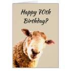 Happy  70th Birthday Funny Sheep Animal Humour Card
