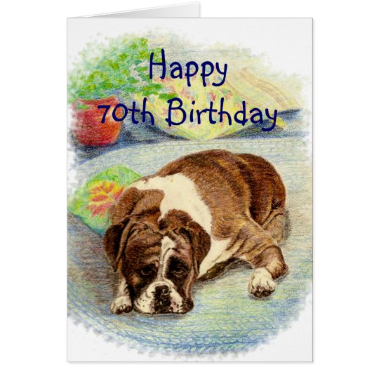 Happy 70th Birthday Get Excited Humour Boxer Dog