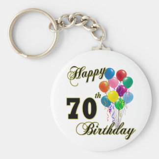 Happy 70th Birthday Gifts and Birthday Apparel Key Ring
