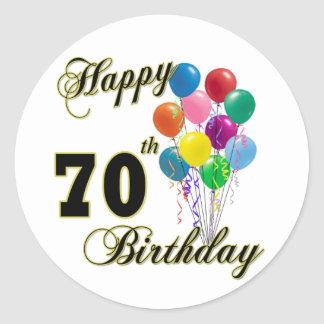 Happy 70th Birthday Gifts and Birthday Apparel Round Sticker