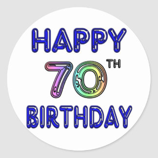Happy 70th Birthday Gifts in Balloon Font Round Sticker