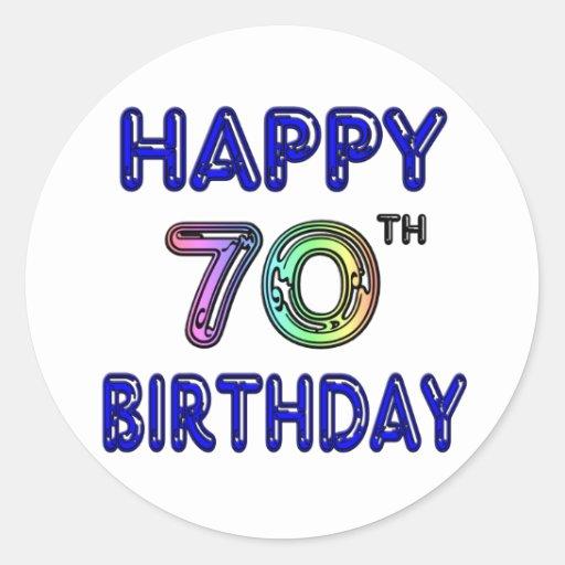 Happy 70th Birthday Gifts in Balloon Font Round Sticker