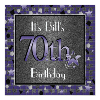 Happy 70th Birthday Party Invitation For Him