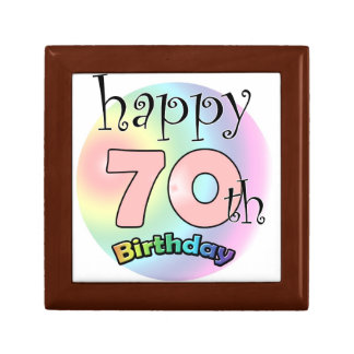 Happy 70th Birthday (pink) Small Square Gift Box