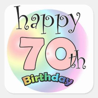 Happy 70th Birthday (pink) Square Sticker