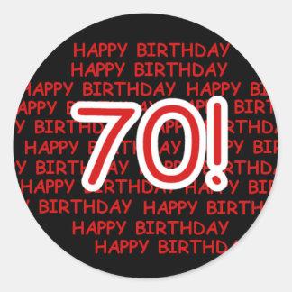 Happy 70th Birthday Round Sticker