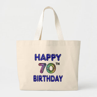 Happy 70th Birthday Tote Bag in Balloon Font Jumbo Tote Bag
