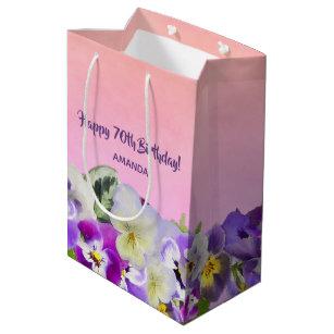 Happy 70th Birthday Violet Pansies Flowers Pink Medium Gift Bag