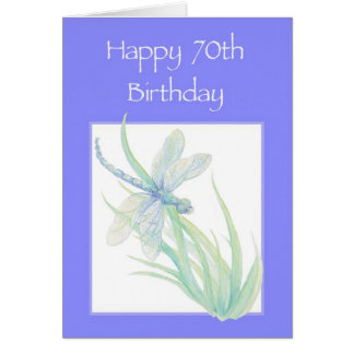 Happy 70th Birthday Watercolor Dragonfly Nature Greeting Card
