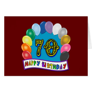 Happy 70th Birthday with Balloons Card