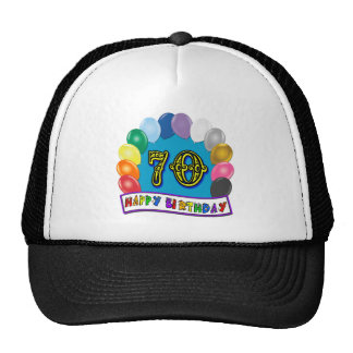 Happy 70th Birthday with Balloons Hat