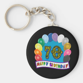 Happy 70th Birthday with Balloons Keychains