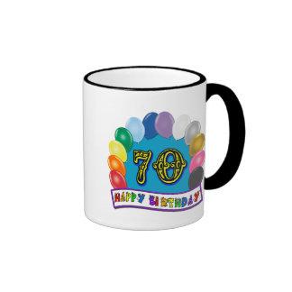 Happy 70th Birthday with Balloons Mug