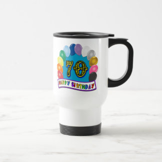 Happy 70th Birthday with Balloons Coffee Mug