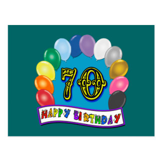 Happy 70th Birthday with Balloons Post Cards
