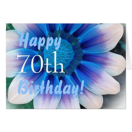 HAPPY 70th BIRTHDAY with Magic Blue Flower Card